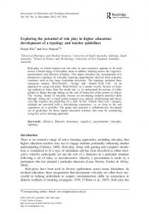 Exploring the potential of role play in higher education: development of a typology and teacher guidelines