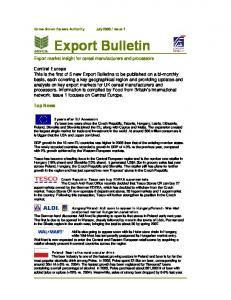 Export Bulletin. Export market insight for cereal manufacturers and processors