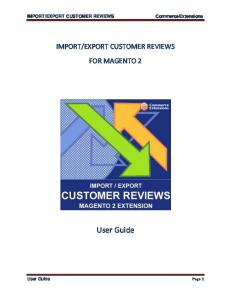 EXPORT CUSTOMER REVIEWS FOR MAGENTO 2. User Guide. User Guide Page 1