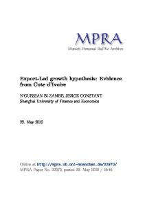 Export-Led growth hypothesis: Evidence from Cote d Ivoire