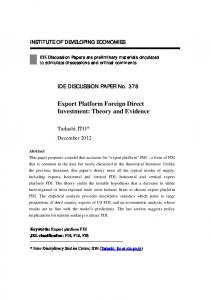 Export Platform Foreign Direct Investment: Theory and Evidence