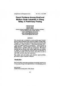 Export Problems Among Small and Medium Scale Industries in Klang Valley: A Preliminary Finding