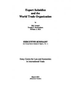 Export Subsidies and the World Trade Organization