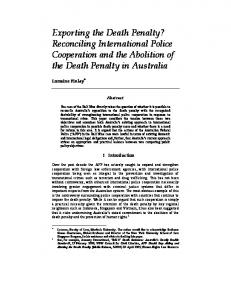 Exporting the Death Penalty? Reconciling International Police Cooperation and the Abolition of the Death Penalty in Australia