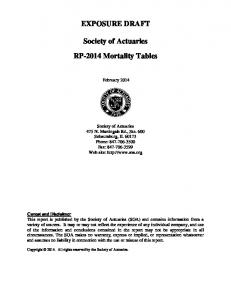 EXPOSURE DRAFT. Society of Actuaries RP-2014 Mortality Tables