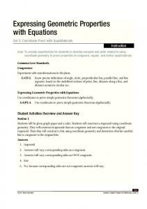 Expressing Geometric Properties with Equations