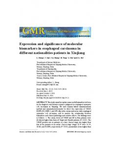 Expression and significance of molecular biomarkers in esophageal carcinoma in different nationalities patients in Xinjiang