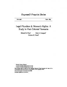 ExpressO Preprint Series. Legal Pluralism & Women s Rights: A Study in Post-Colonial Tanzania
