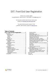 EXT: Front End User Registration