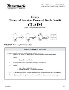 Extended Death Benefit CLAIM