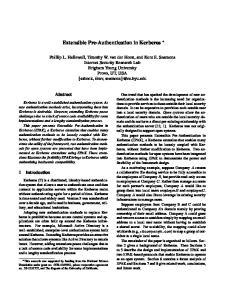 Extensible Pre-Authentication in Kerberos