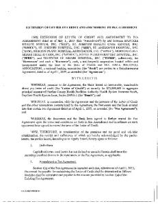 EXTENSION OF LETTER OF CREDIT AND AMENDMENT TO FEE AGREEMENT