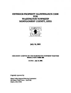 EXTERIOR PROPERTY MAINTENANCE CODE FOR WASHINGTON TOWNSHIP MONTGOMERY COUNTY, OHIO