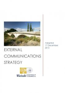 EXTERNAL. Adopted 17 December 2013 COMMUNICATIONS STRATEGY