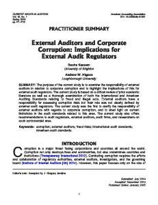 External Auditors and Corporate Corruption: Implications for External Audit Regulators