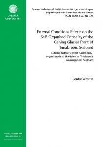 External Conditions Effects on the Self-Organised Criticality of the Calving Glacier Front of Tunabreen, Svalbard