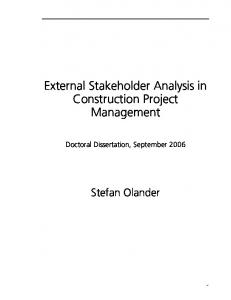 External Stakeholder Analysis in Construction Project Management