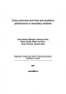Extra-curricular activities and academic performance in secondary students