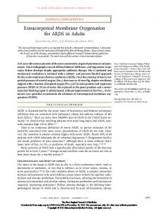 Extracorporeal Membrane Oxygenation for ARDS in Adults