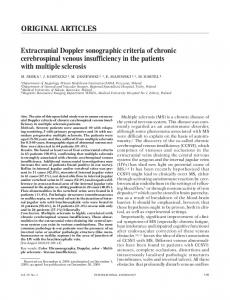Extracranial Doppler sonographic criteria of chronic cerebrospinal venous insufficiency in the patients with multiple sclerosis