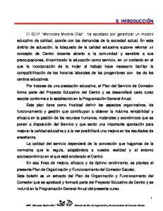 Extracto del Plan de Organización y Funcionamiento del Comedor Escolar