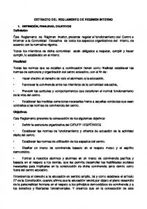 EXTRACTO DEL REGLAMENTO DE REGIMEN INTERNO