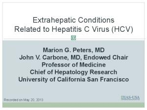 Extrahepatic Conditions Related to Hepatitis C Virus (HCV)