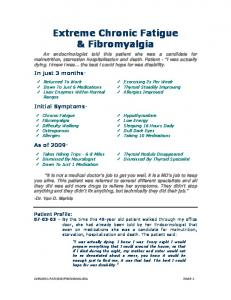 Extreme Chronic Fatigue & Fibromyalgia