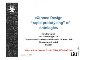 extreme Design rapid prototyping of ontologies