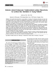 Extreme Lateral Endoscopic Transforaminal Lumbar Discectomy for Lumbar Disc Herniation in Young Patients