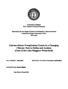 Extreme Storm Precipitations Events in a Changing Climate: How to Define and Analyze (Case of the Lake Maggiore Watershed)