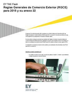EY TAX Flash Reglas Generales de Comercio Exterior (RGCE) para 2015 y su anexo 22