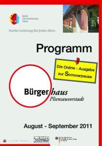 F. G. Programm. Die Online - Ausgabe zur Sommerpause