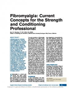 F ibromyalgia is a chronic pain ABSTRACT
