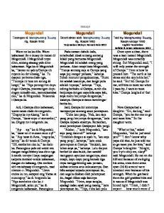 F056-KQR. Mogundali. Diceritakan oleh Mongkusang Duung Kg. Rasak 1990 Terjemahan Melayu: Rosnah Nain 2012