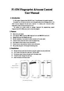 F1-EM Fingerprint &Access Control User Manual