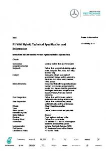 F1 W06 Hybrid Technical Specification and Information