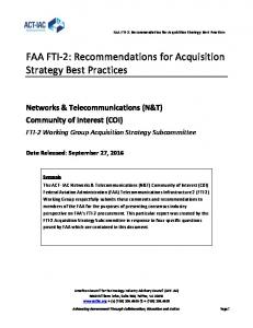 FAA FTI-2: Recommendations for Acquisition Strategy Best Practices