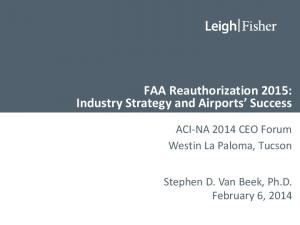 FAA Reauthorization 2015: Industry Strategy and Airports Success