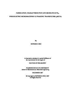 FABRICATION, CHARACTERIZATION AND MODELING OF K 31. PIEZOELECTRIC MICROMACHINED ULTRASONIC TRANSDUCERS (pmuts)