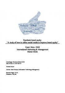 Facebook brand equity: A study of how to utilize social media to improve brand equity