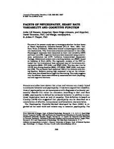 FACETS OF PSYCHOPATHY, HEART RATE VARIABILITY AND COGNITIVE FUNCTION