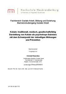 Fachbereich Soziale Arbeit, Bildung und Erziehung Bachelorstudiengang Soziale Arbeit