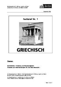 Fachbrief Nr. 1 GRIECHISCH