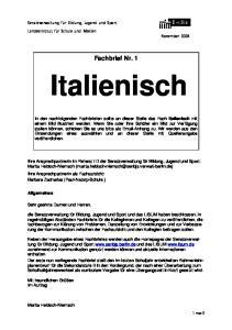 Fachbrief Nr. 1. Italienisch