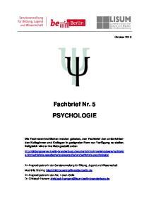 Fachbrief Nr. 5 PSYCHOLOGIE