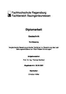 Fachhochschule Regensburg Fachbereich Bauingenieurwesen. Diplomarbeit