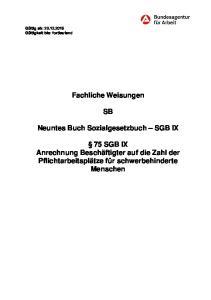 Fachliche Weisungen. Neuntes Buch Sozialgesetzbuch SGB IX