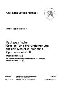 Fachspezifische Studien- und Prüfungsordnung für den Masterstudiengang Sportwissenschaft
