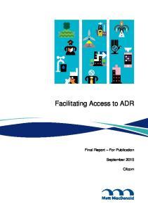 Facilitating Access to ADR